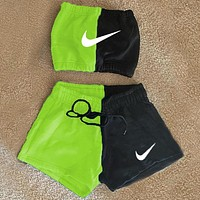 NIKE women's new fashion printing casual sports suit two piece Green