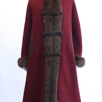 Vintage Russian Style Wool Coat w/Fox Fur - Rice and Beans Vintage
