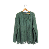 Oversized  Green Fringed Pullover Sweater PONCHO Slouchy Loose Fitting Blanket Top Hippie Boho Plus Size XL XXL Vintage Womens Sweater