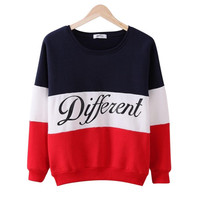 COCKCON Autumn winter women Long Sleeve hoodies LETTER PRINT Different women loose hoodies hoody sudaderas Womans Clothes