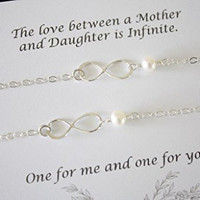 Mother and Daughter Infinity Bracelet Set, Infinity Gift, Infinity Jewelry, Delicate, Silver Infinity, Sterling Silver