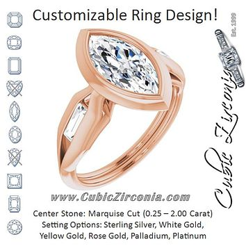 Cubic Zirconia Engagement Ring- The Claudelle (Customizable Bezel-set Marquise Cut Design with Wide Split Band & Tension-Channel Baguette Accents)
