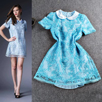 Solid Doll Collar Short Sleeve Mesh Lace Embroidered Shift Dress