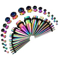 BodyJ4You 36PC Gauges Kit Ear Stretching 14G-00G Rainbow Steel Tunnel Plugs Tapers Piecing Set