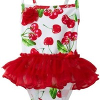 Flapdoodles Baby Girls' Tutu Pretty Cherry Print One Piece Swim Suit