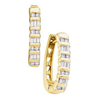 14k Yellow Gold 0.25Ctw Diamond Fashion Hoop Earrings: Earrings