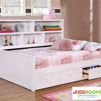 Full Size Bookcase Captains Daybed White | Allen House | Kids Captains Beds and Daybeds