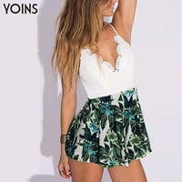 YOINS 2016 New Style Lace Patchwork Flroal Print Camis Romper Women Strap Jumpsuit Summer Beach Bodysuit Sexy Clubwear Overalls