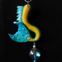 Green Dragon mermaid tail pendant, mermaid pendant, mermaid gift, gift for professional mermaid, yellow and teal green mermaid tail pendant