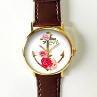 Floral Anchor Watch  Watches for Men Women Leather Watch Ladies Vintage Style Jewelry Accessories Gifts Spring Fashion Unique Beach Time Sea