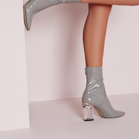Missguided - Patent Ankle Boots Perspex Heel Grey