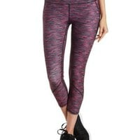 Pink Combo Space-Dye Capri Workout Pants by Charlotte Russe