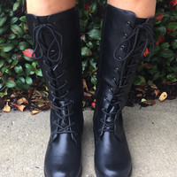 Wild Like Me Lace Up Combat Boots - Black