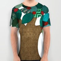 Teal Tree All Over Print Shirt by Erin Brie Art