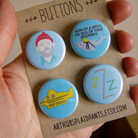 Life aquatic, steve zissou, team zissou, bill murray pinback button set