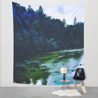 Blue Trees Wall Tapestry by DuckyB (Brandi)