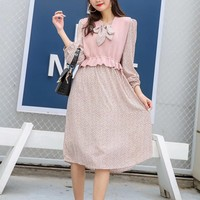Women Casual Personality Floral  Bow Print Hubble-bubble Sleeve Middle Long Section Set Two-Piece Clothes Dress