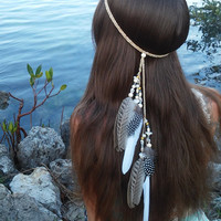 Native, American, style, Feather HeadBand, white feather headband, feather headpiece, feather hair, free people, natural, beach, shell