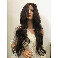 Brown Curly Human Hair Blend Deep Parting Front Lace Wig - Gini 61017 16
