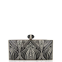Large Coffered Rectangle Clutch Bag, Silver Jet Multi