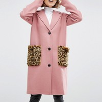 ASOS Coat in Wool Blend with Faux Fur Leopard Pockets at asos.com