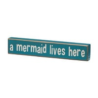 A Mermaid Lives Here - Vintage Coastal Mini Wood Sign - 8-in