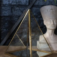Brass Metal and Glass Geometric Pyramid Terrarium