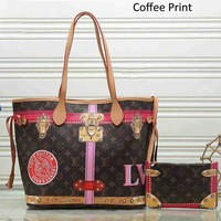 LV Louis Vuitton 2018 trendy female trendy shoulder bag two sets F-LLBPFSH coffee plaid