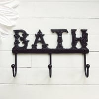 Metal Wall Decor / Decorative Wall Hooks / Bathroom Hook / Shabby Chic Wall Hook / French Country Decor / Black Home Decor / For the Home