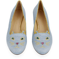 Charlotte Olympia Jewelled Kitty Flat
