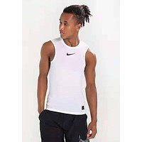 NIKE Summer Fashion Men Women Print Breathable Sport Vest Top White