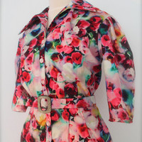 Vintage inspired jump suit in limited edition,  made to order bright floral print overalls, 1940's siren suit