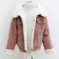Winter Women Corduroy Basic Jacket Long Sleeve Lambswool Bomber Jacket Casual Single Breasted Denim Jacket