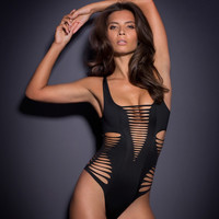 Cut Out Deep V-Neck Swimsuit