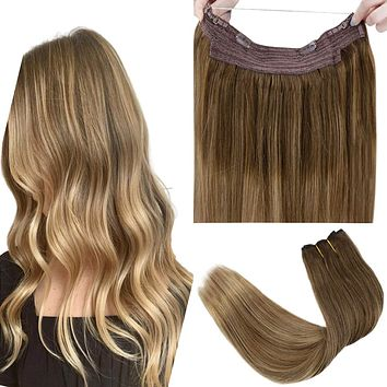 """LaaVoo 20"""" Secret Wire Hair Extensions Human Halo Extensions 100 Grams Real Double Weft Extensions Medium Brown to LightBrown and DarkGoldenBlonde 11inch Width… 20 Inch #6/8/14"""