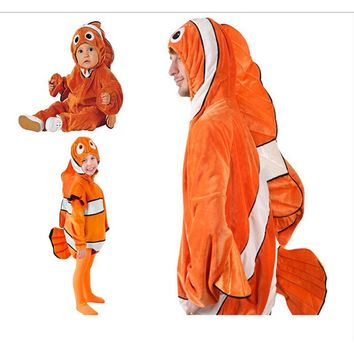 baby(1-4 years old) children Adult halloween party cosplay clown fish clownfish Nemo Marlin costume with hat clothing clothes