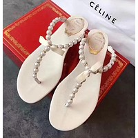 Rene Caovilla Fashion Women Casual Pearl Beach Sandals Slippers Shoes White