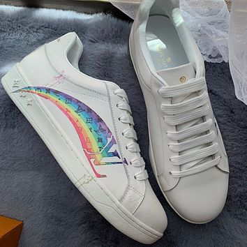 LV rainbow letter printed low-top sneakers shoes