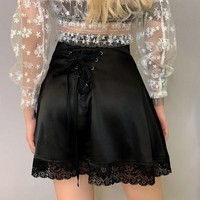 Streetwear Black Lace Patchwork Skirts Womens Summer faldas mujer moda New Lace Up High Waist Female Mini Short Skirt Gift