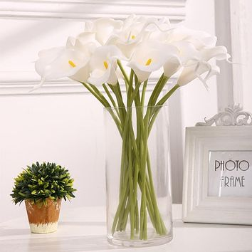 YGS Design Collection 10PCS High Quality Calla Lily Silk Flowers for Decorations