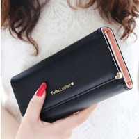 2015 Candy Color fashion lady women long wallet envelope clutch bags PU handbags Coin Purses Ladies Monederos card holder gift = 1958620228