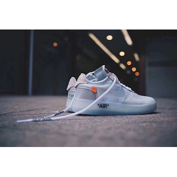 "OFF-White x NIKE AIR FORCE 1 low ""Grey&White"" Men SneakerA04606-100"