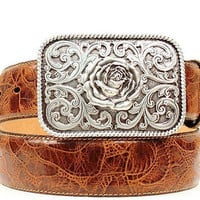 Ariat Women's Western Embossed Leather Belt & Rose Buckle