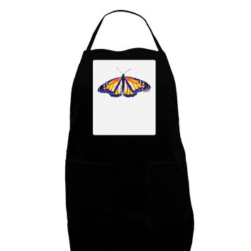 TooLoud Watercolor Monarch Butterfly Panel Dark Adult Apron
