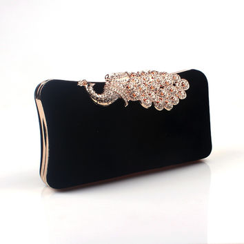 6 Color Women's Peacock Evening Clutch Bag/Purse Diamond Rhinestone Peacock Bag Crystal Day Clutch Wallet Wedding Purse