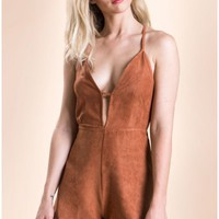 Oh My Love Suedette Side Tab Plunging Playsuit Tan