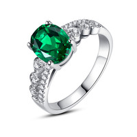 Sterling Silver Hearts W. 2.5 Carats Oval Emerald Engagement Ring