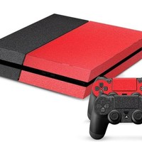 Black/Red Leather Print PS4 Skin + 2 Controller Skins