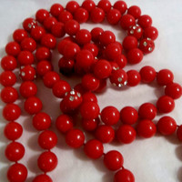 "Red, Vintage, XL Bead Necklace, Red Beads, w Rhinestone Inclusions, ""Value Priced Beads"", Birthday Present for Her"