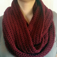 Maroon Infinity Scarf Crocheted